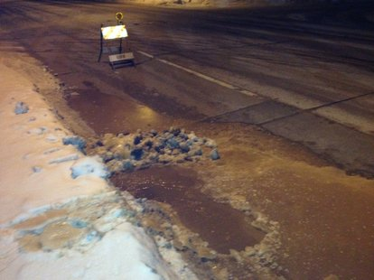 Water main break seen on Ashland Avenue in Green Bay. (Photo from: FOX 11).