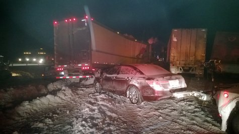 At least 16 semi trucks were involved in traffic collisions.