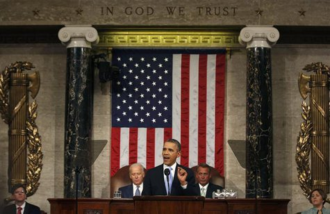 U.S. President Barack Obama delivers his State of the Union speech on Capitol Hill in Washington January 28, 2014. REUTERS/Larry Downing