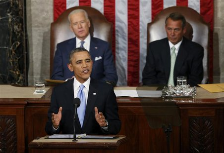 U.S. President Barack Obama delivers his State of the Union address in front of the U.S. Congress, on Capitol Hill in Washington, January 28