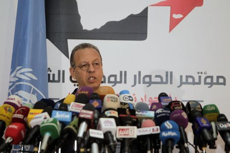 United Nations' Yemen envoy Jamal Benomar addresses a news conference on a proposal to turn the country into a federation of semi-autonomous