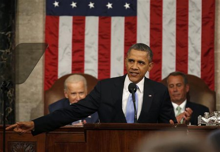 U.S. President Barack Obama delivers his State of the Union speech on Capitol Hill in Washington, January 28, 2014. REUTERS/Larry Downing
