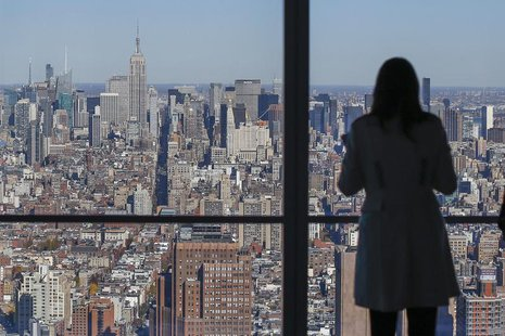 The Manhattan skyline is seen from the 68th floor of the 4 World Trade Center tower in New York, November 13, 2013. REUTERS/Shannon Stapleto