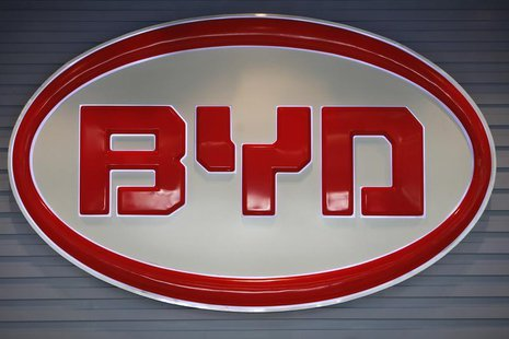 The logo of BYD (Build Your Dreams) is seen inside a showroom in Shenzhen, China's southern Guangdong province July 27, 2009. REUTERS/Tyrone