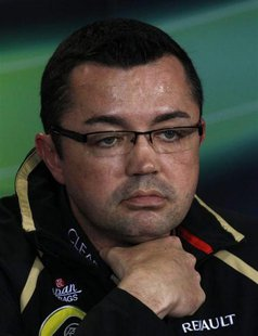 Lotus Formula One team principal Eric Boullier attends a news conference following the second practice session of the Australian F1 Grand Pr