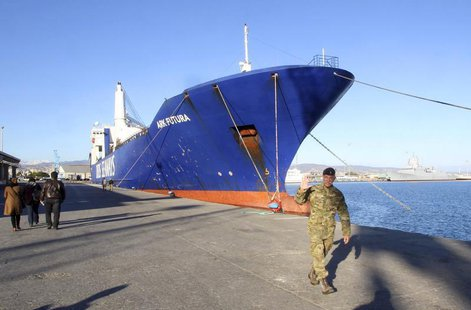 One of two cargo ships intended to take part in a Danish-Norwegian mission to transport chemical agents out of Syria docks in Limassol, Dece