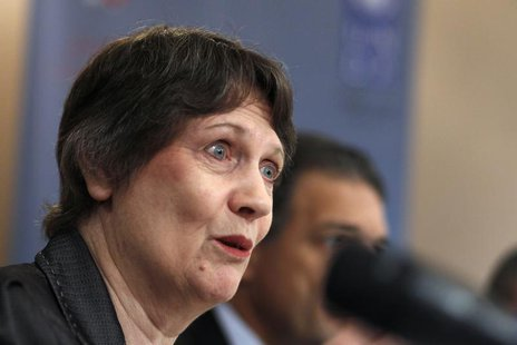 "Helen Clark, head of the United Nations Development Programme (UNDP), speaks during a news conference after launching a report on ""Water Gov"