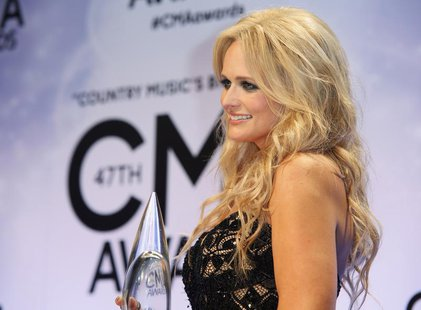 Miranda Lambert poses backstage with her Female Vocalist of the Year award at the 47th Country Music Association Awards in Nashville, Tennes