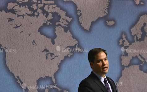 U.S. Republican Senator Marco Rubio delivers his keynote speech entitled 'American Leadership and the future of the Transatlantic Alliance'
