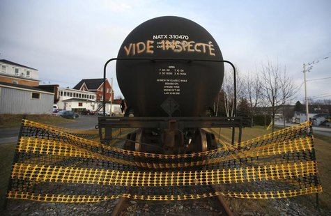 "A tanker with an inscription which reads, ""empty and inspected"", is pictured on the rail track in Lac-Megantic, November 21, 2013. REUTERS/M"