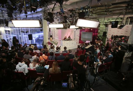 General view of the Dozhd (Rain) TV studio during a news conference with Pussy Riot members Nadezhda Tolokonnikova and Maria Alyokhina in Mo