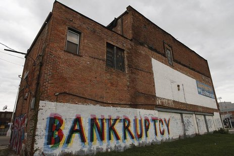 "The word ""Bankruptcy"" is painted on the side of a building in Detroit, Michigan in this October 25, 2013 file photo. REUTERS/Joshua Lott/Fil"