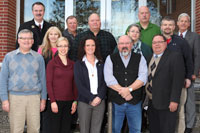 The SDSU Engineering Extension Office Advisory Board consists of: (front row) James Marsh, Samantha Stahnke, Beth Locken, Randall W. Chappell and Peter Bullene; (middle row) Laurie Gates, William Spreeman, Teresa Hall and Brian Boe; (back row) Jon Puetz,  Kevin Hagen, Scott Berg and Richard Reid,  Jerome J. Lohr.   (SDSU.edu)