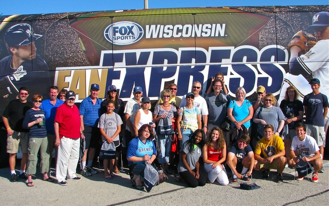Fox Sports Wisconsin Fan Express bus to Miller Park