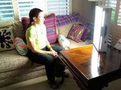Light Therapy Boxes generate the sort of full spectrum light that the sun generates, and while such lights don't emit heat or the kinds of rays that might give you a tan, they can help S.A.D. patients feel better.  (picture courtesy Wikipedia}