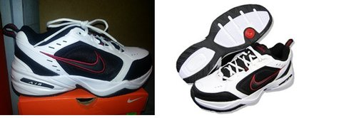 What the Nike Air Monarch shoes would look like, worn by the attempted burglar the night of the incident.