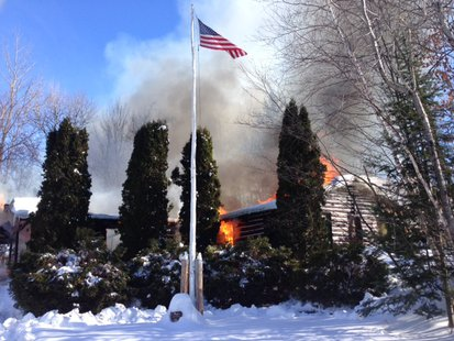 1-28-14 Cabin fire on Olivotti Lake Road.  Photo: Merrill Fire Department