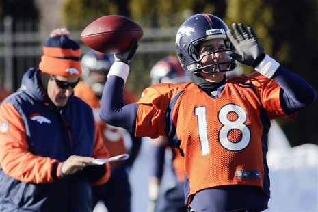 Denver Broncos offensive coordinator Adam Gase (L) checks his clipboard as quarterback Peyton Manning (18) throws a pass during their practi