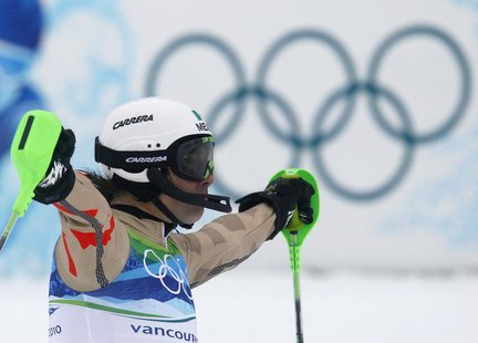 Mexico's Hubertus Von Hohenlohe reacts after competing during the first run of the men's alpine skiing slalom event at the Vancouver 2010 Wi