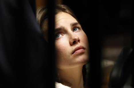 Amanda Knox, the U.S. student convicted of killing her British flatmate in Italy in 2007, looks on during a trial session in Perugia January