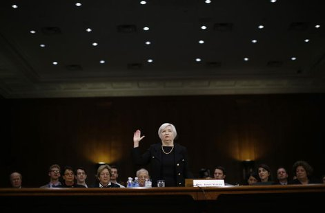 Janet Yellen, President Barack Obama's nominee to lead the U.S. Federal Reserve, is sworn in to testify at her U.S. Senate Banking Committee