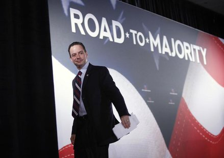 "Republican National Committee Chairman Reince Priebus leaves the stage after addressing the Faith and Freedom Coalition ""Road to Majority"" c"