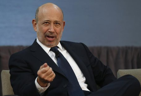 Goldman Sachs CEO Lloyd Blankfein takes part in a panel discussion following a news conference announcing a $20 million partnership to bring