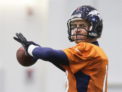 Denver Broncos quarterback Peyton Manning readies to throw a pass during their practice session for the Super Bowl at the New York Jets Trai