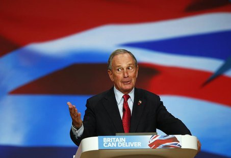 New York City Mayor Michael Bloomberg speaks at the Conservative Party conference in Birmingham, central England October 10, 2012 in this fi