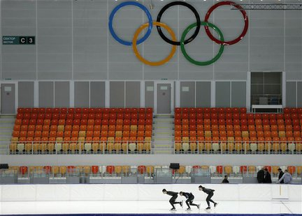 Members of the U.S. speedskating team practice at the Adler Arena on the Olympic Park as preparations continue for the Sochi 2014 Winter Oly