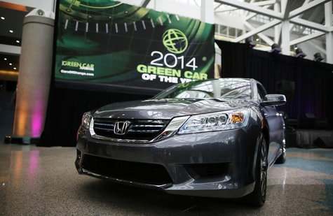 "The 2014 Honda Accord Hybrid, which was named ""Green Car of the Year"", is pictured at the Los Angeles Auto Show in Los Angeles, California,"
