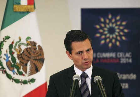 Mexico's President Enrique Pena Nieto addresses the media in Havana January 29, 2014. REUTERS/Stringer