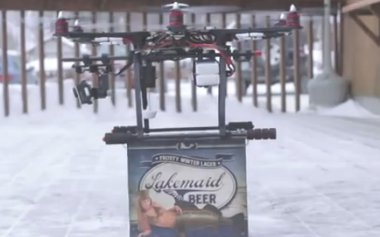Lakemaid beer delivery by drone (Photo from YouTube).