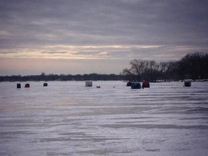 Ice fishing shanties on Lake Winnebago in Oshkosh, December 2013. (Photo from: FOX 11).