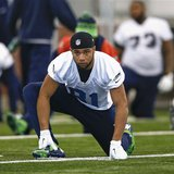 Seattle Seahawks wide receiver Golden Tate stretches at their NFL Super Bowl XLVIII football practice in East Rutherford, New Jersey, Januar