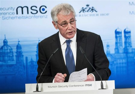 U.S. Defense Secretary Chuck Hagel speaks during the Munich Security Conference at the Bayerischer Hof Hotel in Munich February 1, 2014. REU