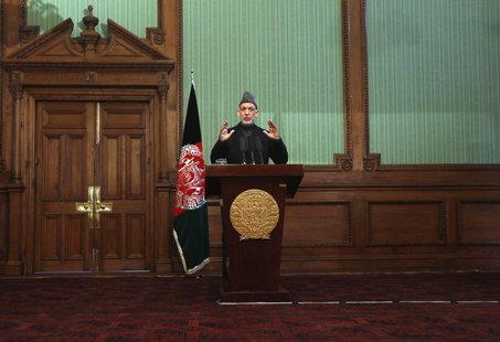 Afghan President Hamid Karzai speaks during a news conference in Kabul January 25, 2014. REUTERS/Mohammad Ismail