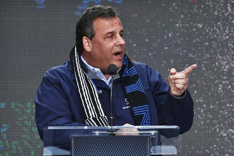 New Jersey Governor Chris Christie speaks as he attends the Super Bowl Hand-Off Ceremony at the Boulevard fan zone ahead of Super Bowl XLVII