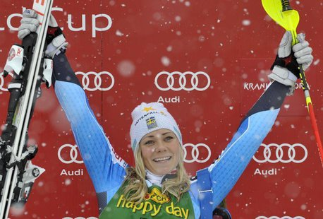 Frida Hansdotter of Sweden celebrates as she won the women's FIS Alpine Skiing World Cup slalom race in Kranjska Gora February 2, 2014. REUT