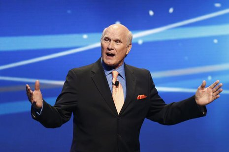 "Former NFL football great and broadcaster Terry Bradshaw speaks during a presentation to announce Fox's new sports network ""Fox Sports 1"" in"