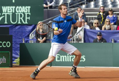 Feb 2, 2014; San Diego, CA, USA; Andy Murray (GBR) in action against Sam Querrey (USA) in the USA vs GBR Davis Cup tie at Petco Park. Mandat