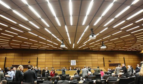 A general view of the meeting room before the start of a board of governors meeting at the IAEA headquarters in Vienna November 28, 2013. RE