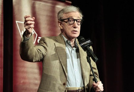 "Director of the movie and cast member Woody Allen speaks on stage at the premiere of ""To Rome with Love"" during the opening night of the Los"