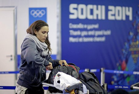 Women's bobsleigh brakeman Lolo Jones of the U.S. arrives at the Coastal Athletes Village for the 2014 Sochi Winter Olympics, January 30, 20