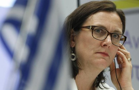 European Home Affairs Commissioner Cecilia Malmstrom listens to a question during a news conference at European Union office in Athens May 1