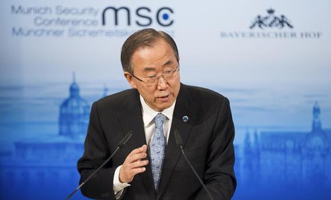 U.N. Secretary General Ban Ki-moon gives his speech during the annual Munich Security Conference February 1, 2014. REUTERS/Lukas Barth