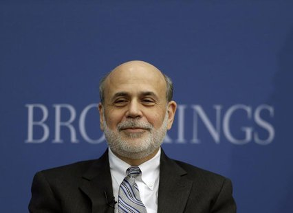 Outgoing U.S. Federal Reserve Board Chairman Ben Bernanke participates in a discussion at the Brookings Institution in Washington January 16