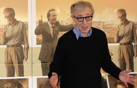"U.S. director Woody Allen gestures during a photocall for the film"" To Rome with Love"" in Rome, April 13, 2012. REUTERS/Stefano Rellandini"