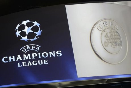 The UEFA Champions League logo is seen during the draw ceremony for the 2013/2014 Champions League Cup soccer competition at Monaco's Grimal