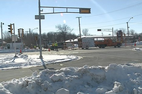 Emergency and utility crews work at the scene of a gas leak at the intersection of College Ave. and Westhill Blvd. in Grand Chute, Feb. 3, 2014. (Photo from: FOX 11)